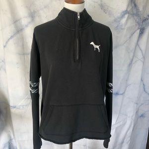PINK black quarter zip sweater
